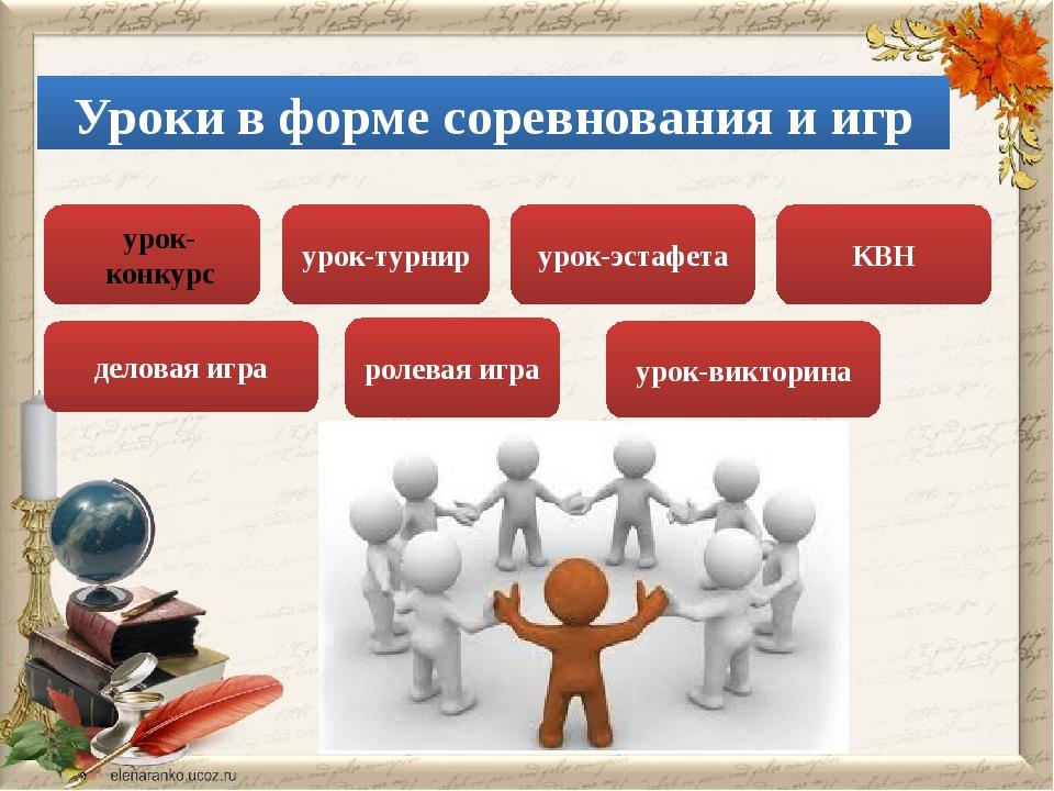 Уроки в форме соревнования и игр урок-турнир урок-эстафета деловая игра КВН р...
