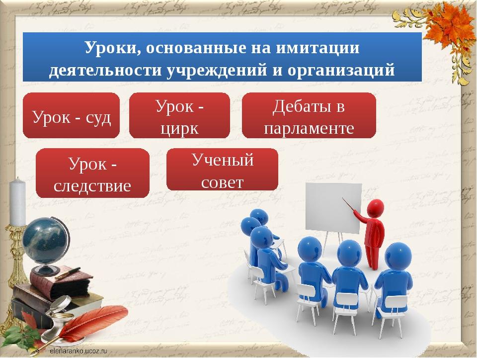 Уроки, основанные на имитации деятельности учреждений и организаций Урок - су...