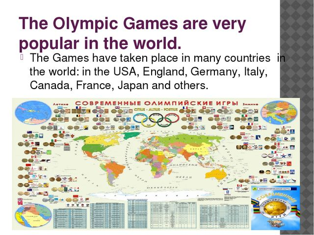 The Olympic Games are very popular in the world. The Games have taken place i...
