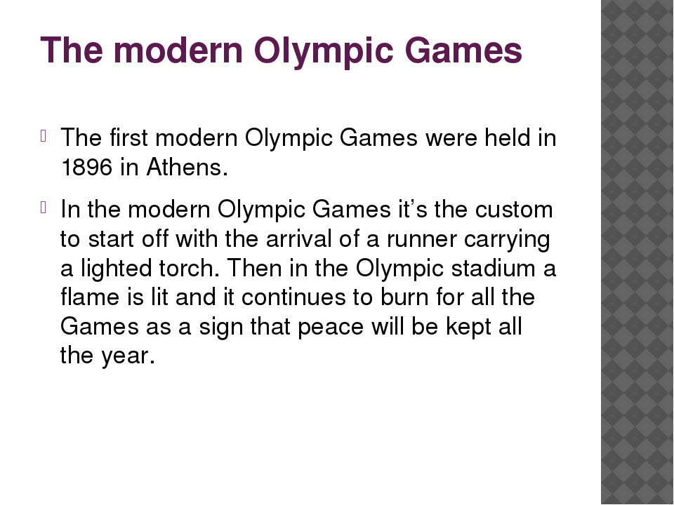 The modern Olympic Games The first modern Olympic Games were held in 1896 in...