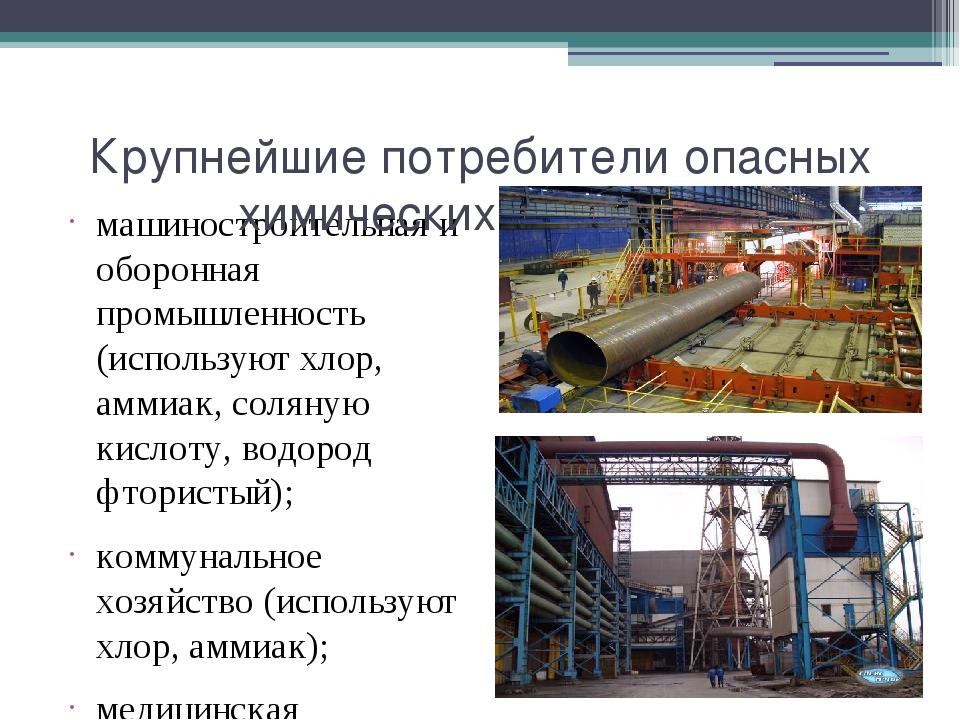 машиностроительная и оборонная промышленность (используют хлор, аммиак, солян...