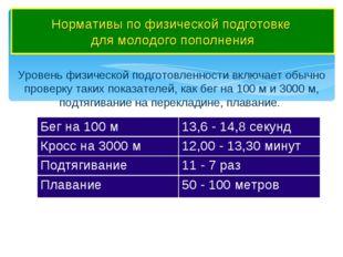 Нормативы по физической подготовке для молодого пополнения Уровень физическо
