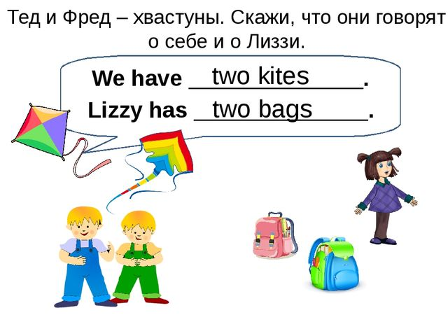 two kites Тед и Фред – хвастуны. Скажи, что они говорят о себе и о Лиззи. We...