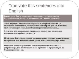 Translate this sentences into English Говорят, что благотворительность начина