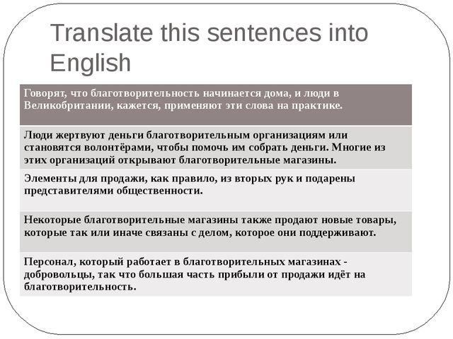 Translate this sentences into English Говорят, что благотворительность начина...