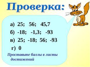 а) 25; 56; 45,7 б) -18; -1,3; -93 в) 25; -18; 56; -93 г) 0 Проставьте баллы