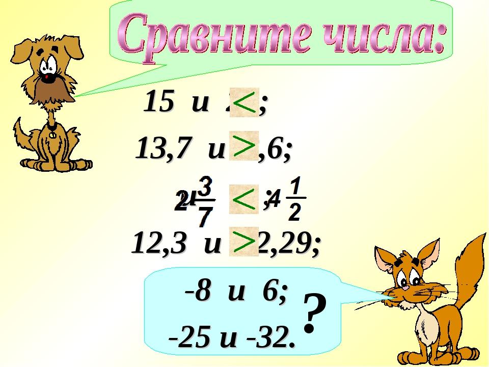 ? 15 и 28; 13,7 и 8,6; и ; 12,3 и 12,29; -8 и 6; -25 и -32.