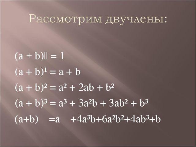 (а + b)⁰ = 1 (a + b)¹ = a + b (a + b)² = a² + 2ab + b² (a + b)³ = a³ + 3a²b +...