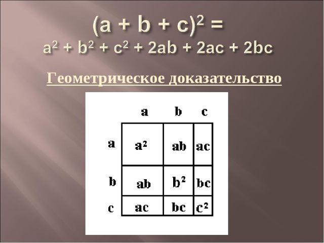 Геометрическое доказательство