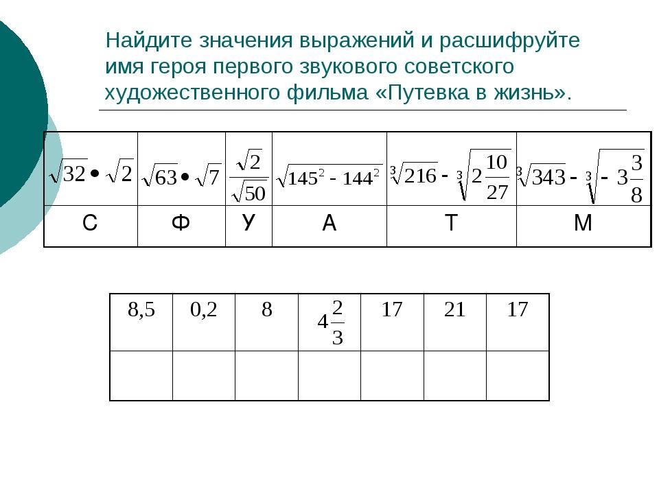 Найдите значения выражений и расшифруйте имя героя первого звукового советско...
