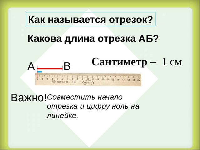 Сантиметр – 1 см Какова длина отрезка АБ? Как называется отрезок? А В Важно!...