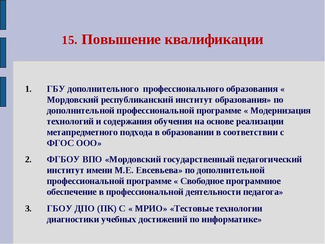 15. Повышение квалификации ГБУ дополнительного профессионального образования...