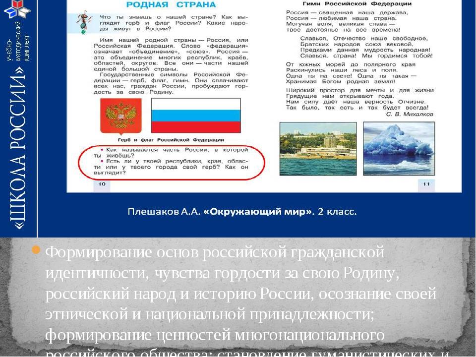 Формирование основ российской гражданской идентичности, чувства гордости за с...