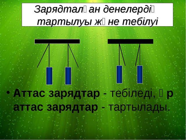 Зарядталған денелердің тартылуы және тебілуі Аттас зарядтар - тебіледі, әр ат...