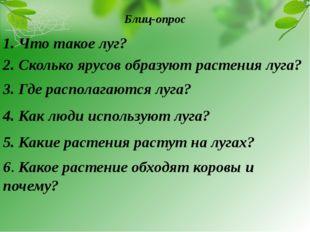 Блиц-опрос 1. Что такое луг? 2. Сколько ярусов образуют растения луга? 3. Где