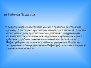в) Таблица Пифагора У пифагорейцев существовало учение о правилах действия на