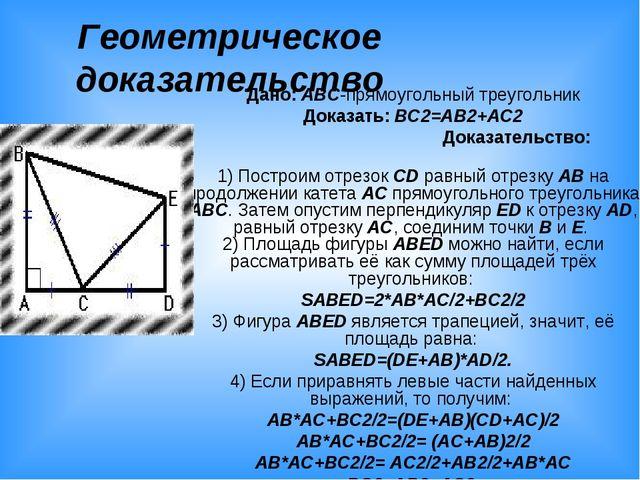 Геометрическое доказательство Дано: ABC-прямоугольный треугольник Доказать: B...