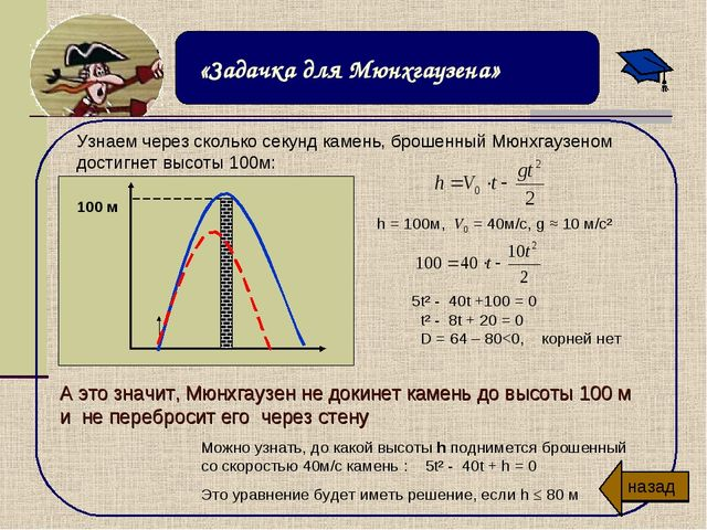 h = 100м, V0 = 40м/с, g ≈ 10 м/с² 5t² - 40t +100 = 0 t² - 8t + 20 = 0 D = 64...