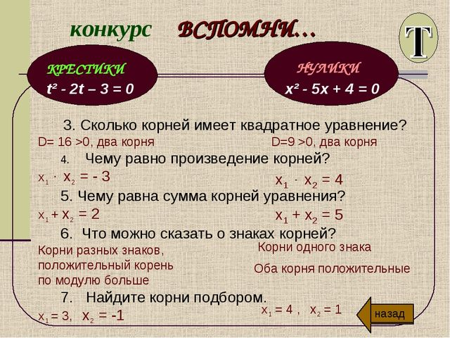 конкурс ВСПОМНИ… t² - 2t – 3 = 0 x² - 5x + 4 = 0 3. Сколько корней имеет квад...