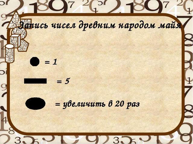 Запись чисел древним народом майя = 1 = 5 = увеличить в 20 раз