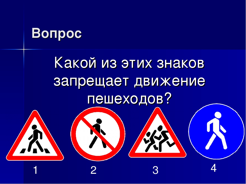 Вопрос Какой из этих знаков запрещает движение пешеходов? 1 2 3 4
