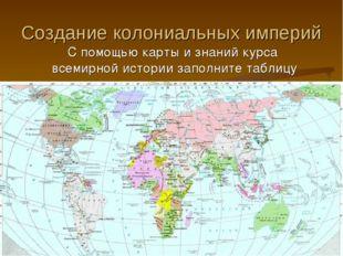 Создание колониальных империй С помощью карты и знаний курса всемирной истори