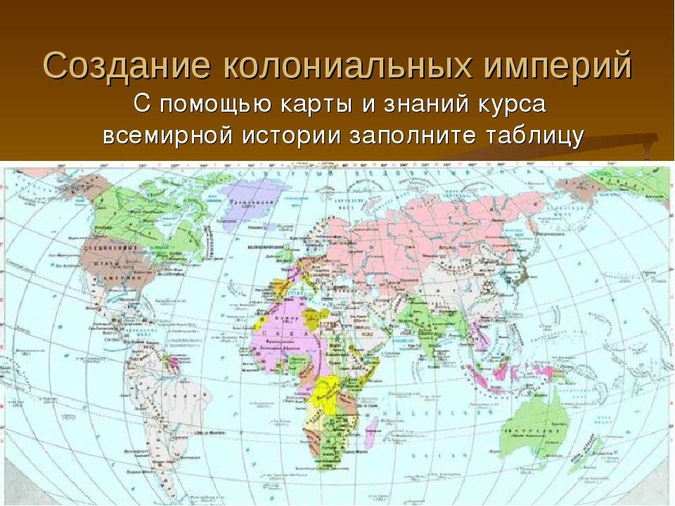 Создание колониальных империй С помощью карты и знаний курса всемирной истори...