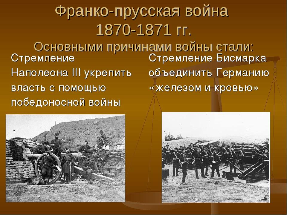 Франко-прусская война 1870-1871 гг. Основными причинами войны стали: Стремлен...