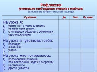 Рефлексия (отметьте свой вариант ответа в таблице) заполнение концептуальной