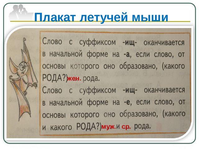 Плакат летучей мыши жен. муж. ср.
