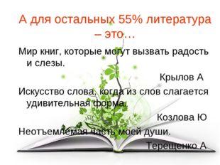 А для остальных 55% литература – это… Мир книг, которые могут вызвать радость