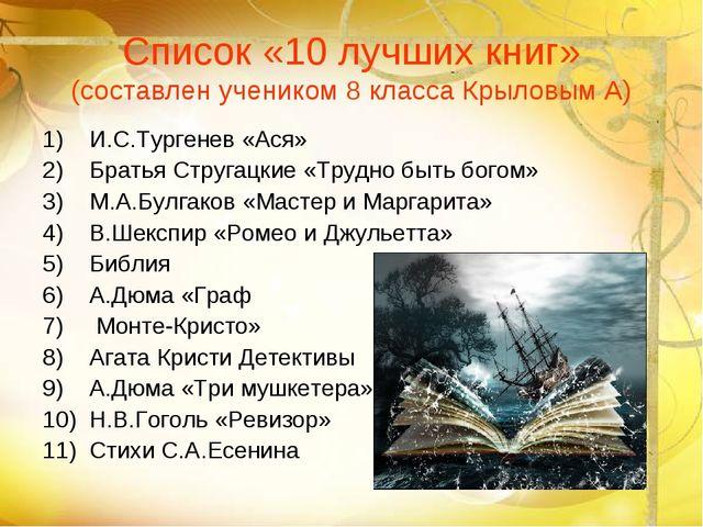 Список «10 лучших книг» (составлен учеником 8 класса Крыловым А) И.С.Тургенев...