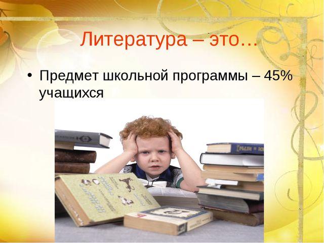 Литература – это… Предмет школьной программы – 45% учащихся