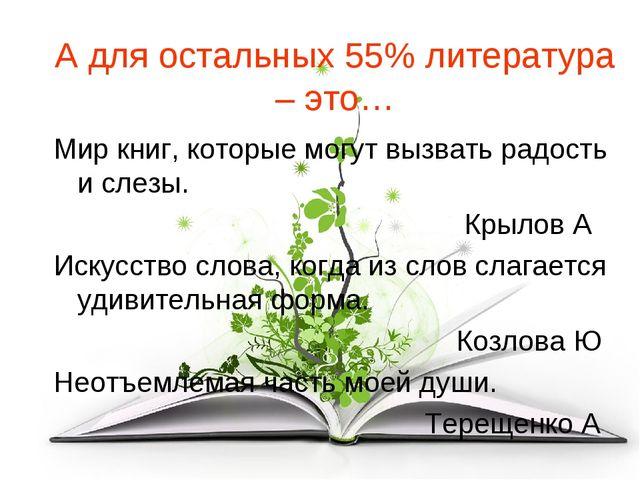 А для остальных 55% литература – это… Мир книг, которые могут вызвать радость...