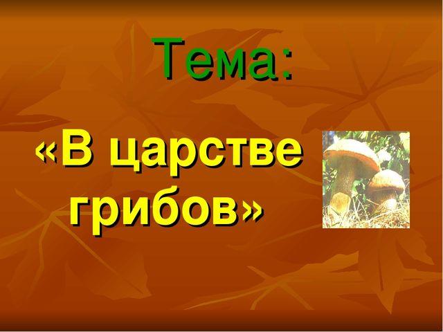 Тема: «В царстве грибов»