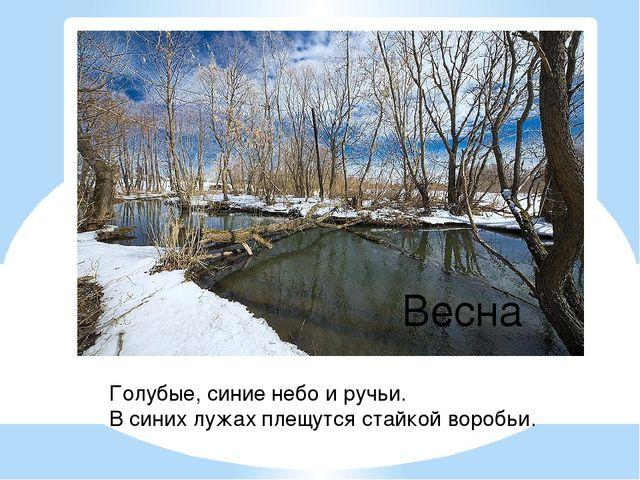 Голубые, синие небо и ручьи. В синих лужах плещутся стайкой воробьи. Весна