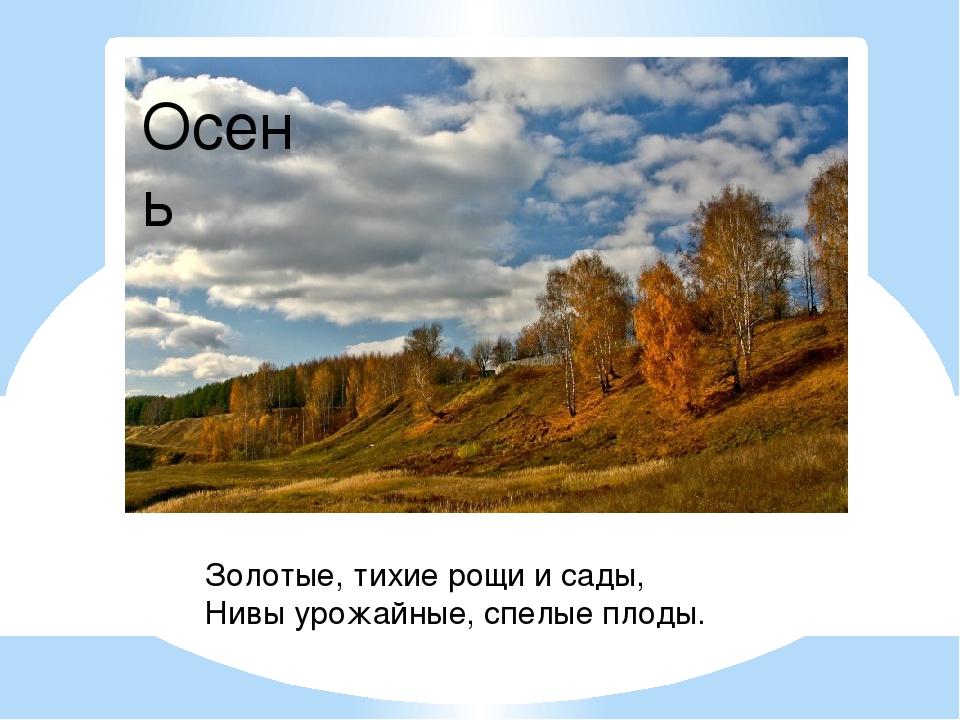 Золотые, тихие рощи и сады, Нивы урожайные, спелые плоды. Осень