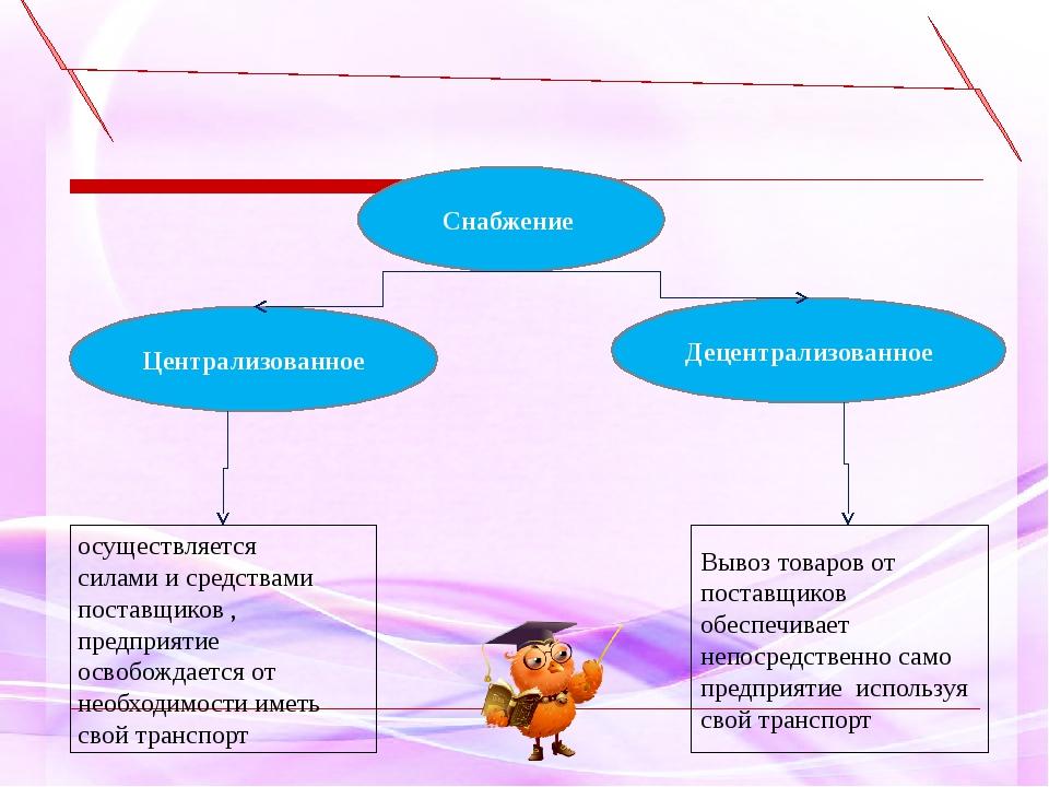 Централизованное Снабжение осуществляется силами и средствами поставщиков , п...