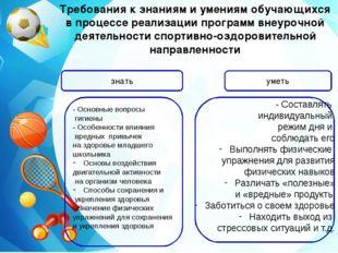 Требования к знаниям и умениям обучающихся в процессе реализации программ вне