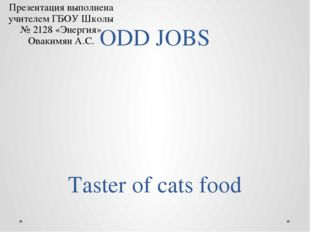 ODD JOBS Taster of cats food Презентация выполнена учителем ГБОУ Школы № 2128