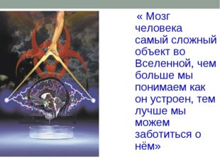 « Мозг человека самый сложный объект во Вселенной, чем больше мы понимаем ка