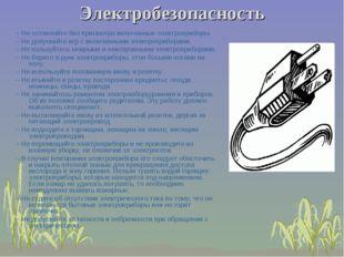 Электробезопасность –Не оставляйте без присмотра включенные электроприборы.