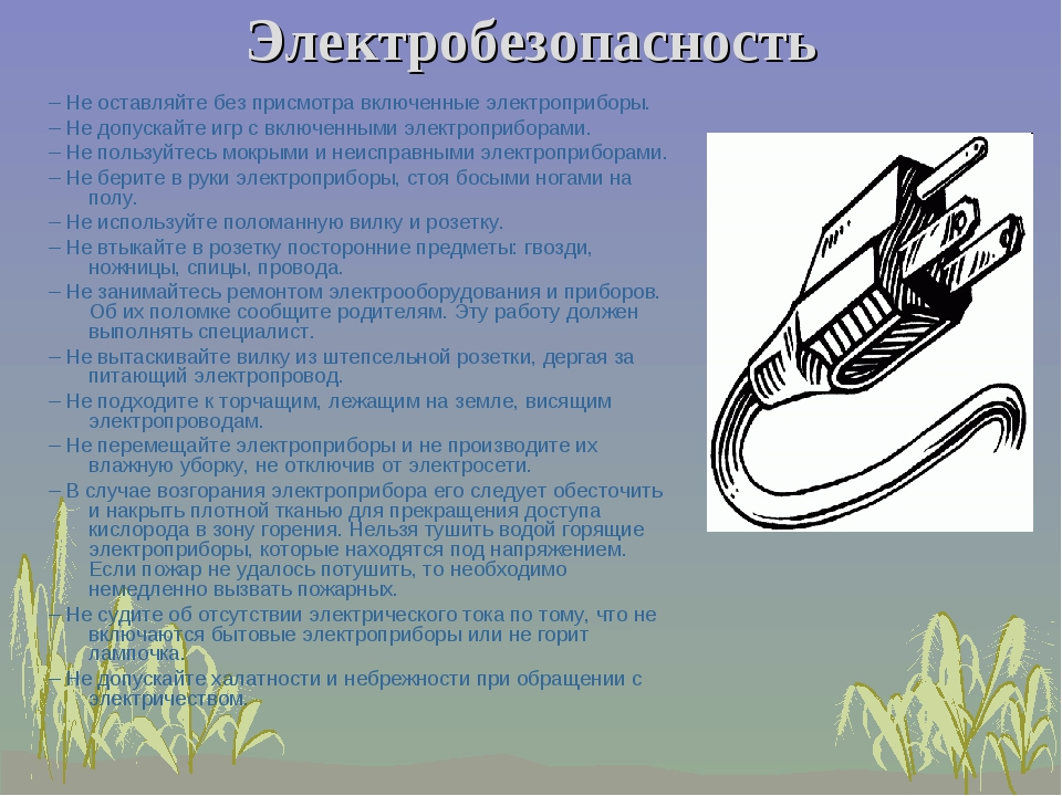 Электробезопасность –Не оставляйте без присмотра включенные электроприборы....