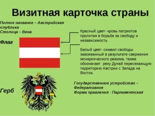 Полное название – Австрийская республика Столица – Вена Флаг Герб Государстве