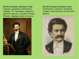 Иоганн Штраус (Штраус-отец) Скрипач, дирижер, композитор. Наряду с Й. Ланнеро