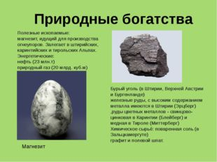 Полезные ископаемые: магнезит, идущий для производства огнеупоров. Залегает в