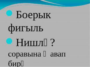 Боерык фигыль Нишлә? соравына җавап бирә