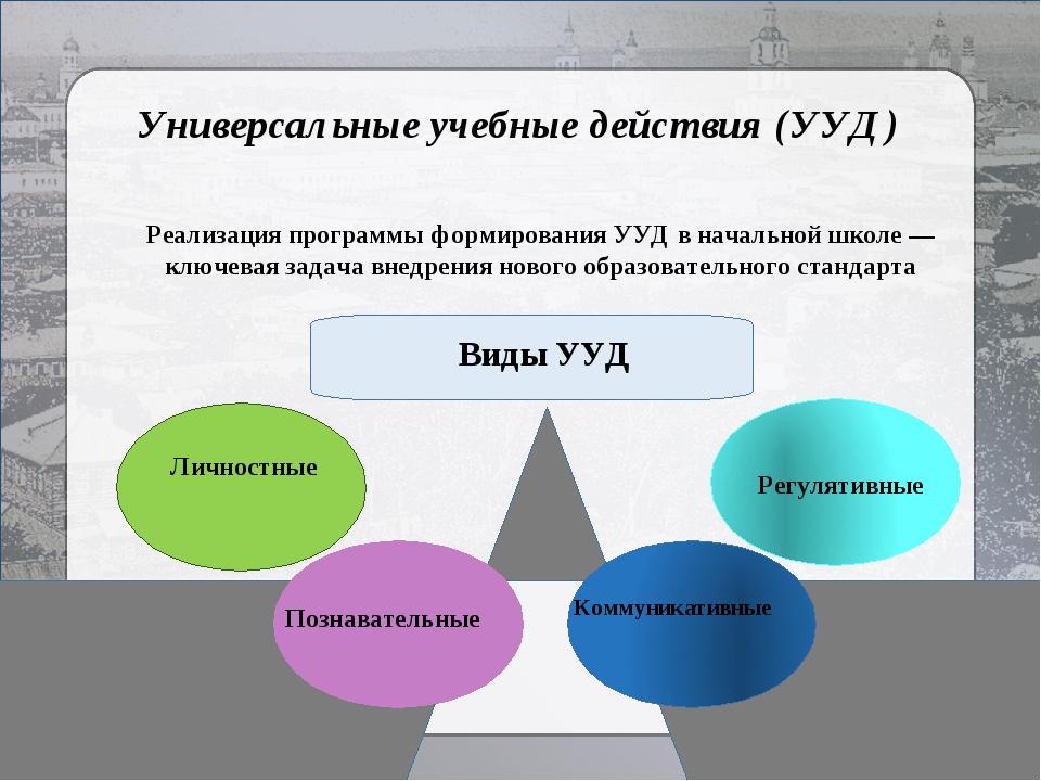 Универсальные учебные действия (УУД) Реализация программы формирования УУД в...
