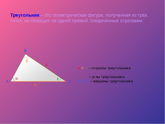 Треугольник – это геометрическая фигура, полученная из трёх точек, не лежащих...