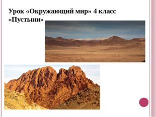 Урок «Окружающий мир» 4 класс «Пустыни»